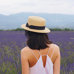 Woman in lavender field